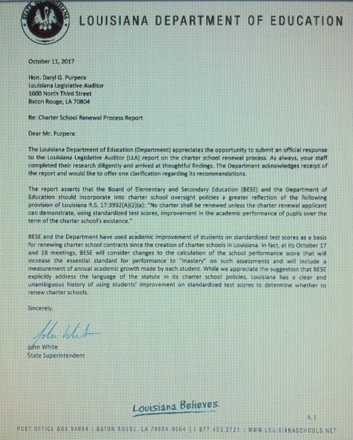 LLA Jhn White letter